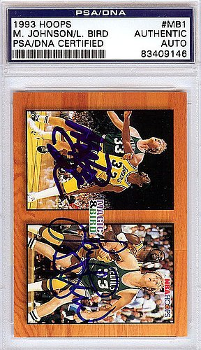 Autographed Basketball Card - Magic Johnson and Larry Bird Signed 1993 Hoops Card #MB1 - PSA/DNA Authentication - NBA Basketball Trading Cards