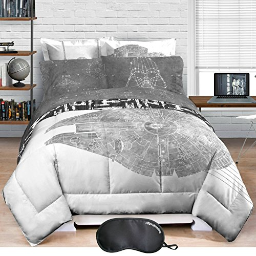 Star Wars Millenium Falcon Comforter, Made of 100% Polyester with Sleep Mask (Dan River Soft Pillow)