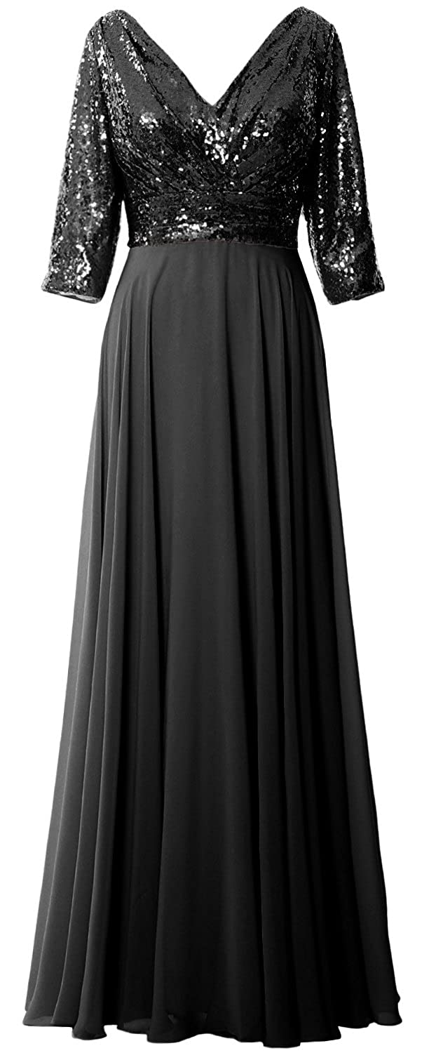 5f0214e0152f MACloth Women 3/4 Sleeve V Neck Formal Evening Gown Sequin Mother of Bride Dress  at Amazon Women's Clothing store: