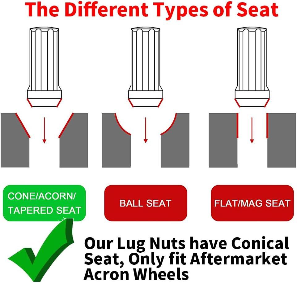 Chrome Finish 1.4 inch Tall Acorn Bulge After-Market Lug Nut Set M12X1.5 Thread 60 Degree Conical Seat 20 PCS M12x1.5 Wheel Lug Nuts 3//4 Hex