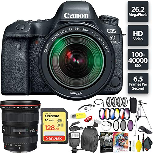 Canon EOS 6D Mark II DSLR Camera + 24-105mm f/3.5-5.6 Lens + 128GB Memory Card (1x 64) + Canon 17-40mm Lens Wide Angle Combo