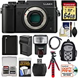 Panasonic Lumix DMC-GX8 4K Wi-Fi Digital Camera Body (Black) with 64GB Card + Battery + Charger + Backpack + Flex Tripod + Flash + Kit