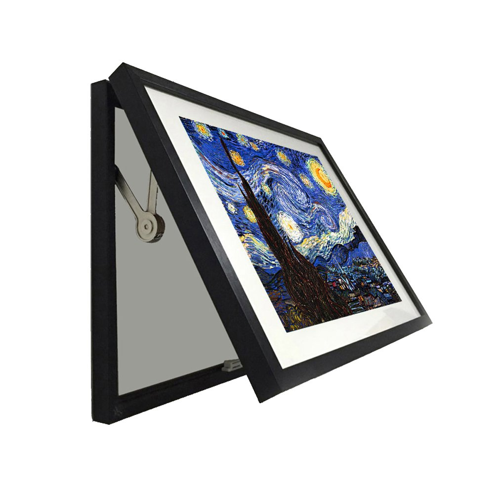 Kreative Arts - Hidden Electrical Switch Box Starry Night Vincent Van Gogh Oil Painting Reproduction Printed on Canvas Classic Art Framed for Wall Decor Easy to Hang (S 19x15inch (48x38cm), Black)