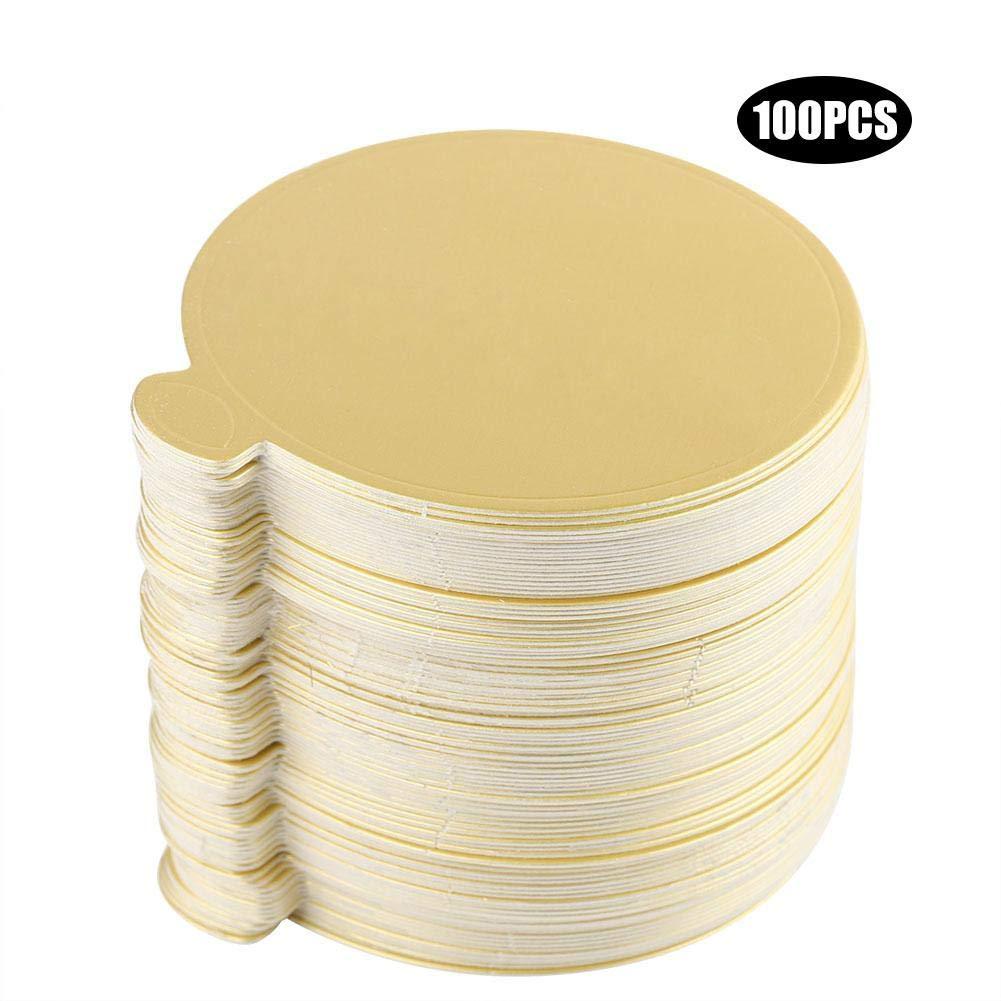 WYANG 100 PCS Round Mousse Cake Boards Gold Paper Cupcake Dessert Displays Tray Wedding Birthday Cake