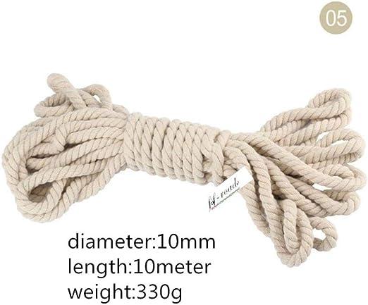 AOM Cuerda de algodón Beige 5 mm-20 mm Cordones Gruesos 100 ...