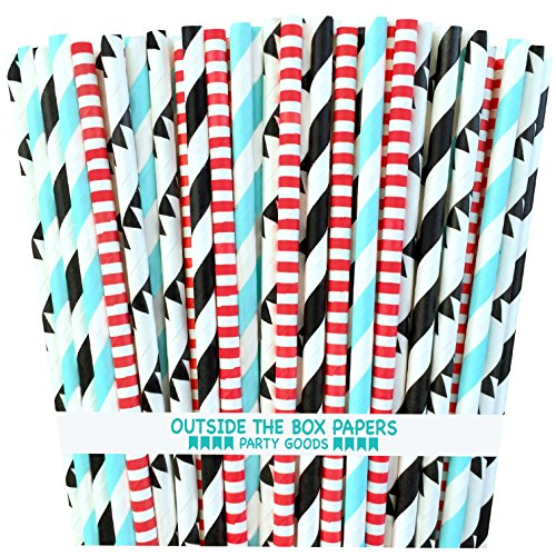 Outside the Box Papers Black Bowling Theme Stripes and Banner Paper Straws 7.75 Inches 100 Pack Black, Red, Light Blue, White