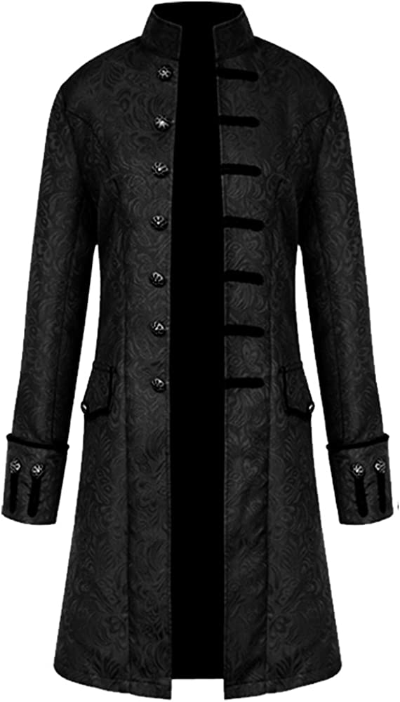 Men Steampunk Vintage Jacket Halloween Costume Retro Gothic Victorian Frock Coat Uniform