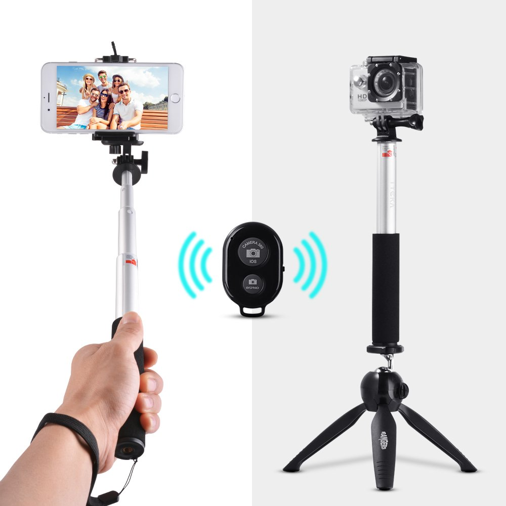 """Tycka 3-in-1 Selfie Stick Kit, 29"""" Extendable Monopod, Mini Tripod with ball-head, Wireless Remote for DSLR Camera, Smartphone (such as iPhone, Samsung, Huawei) and Gopro RA-TK312"""