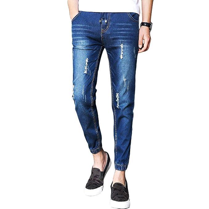 Amazon.com: Geurzc Pantalones vaqueros para hombre a la moda ...