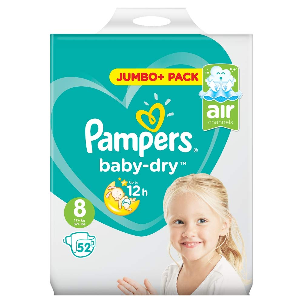 Pampers Baby-Dry Size 8, 52 Nappies PROCTER & GAMBLE UK 110039248