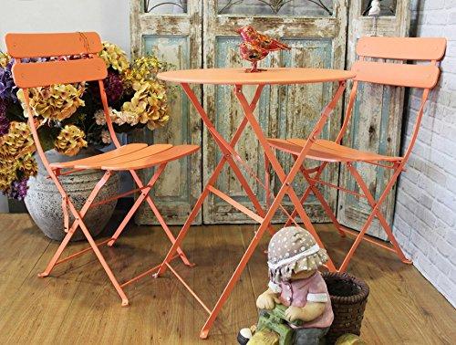 Keyhomestore Completo tavolo e 2 sedie per arredo giardino in ferro colore arancio - 60x70 cm