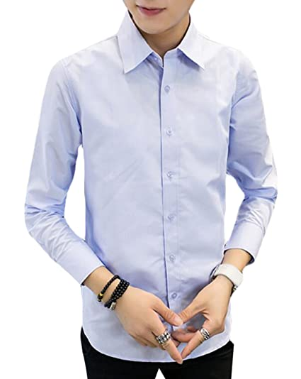 1855f8eb2a8 Image Unavailable. Image not available for. Color  MLG Men s Stylish  Business Casual Slim Fit Dress Shirt Light blue ...