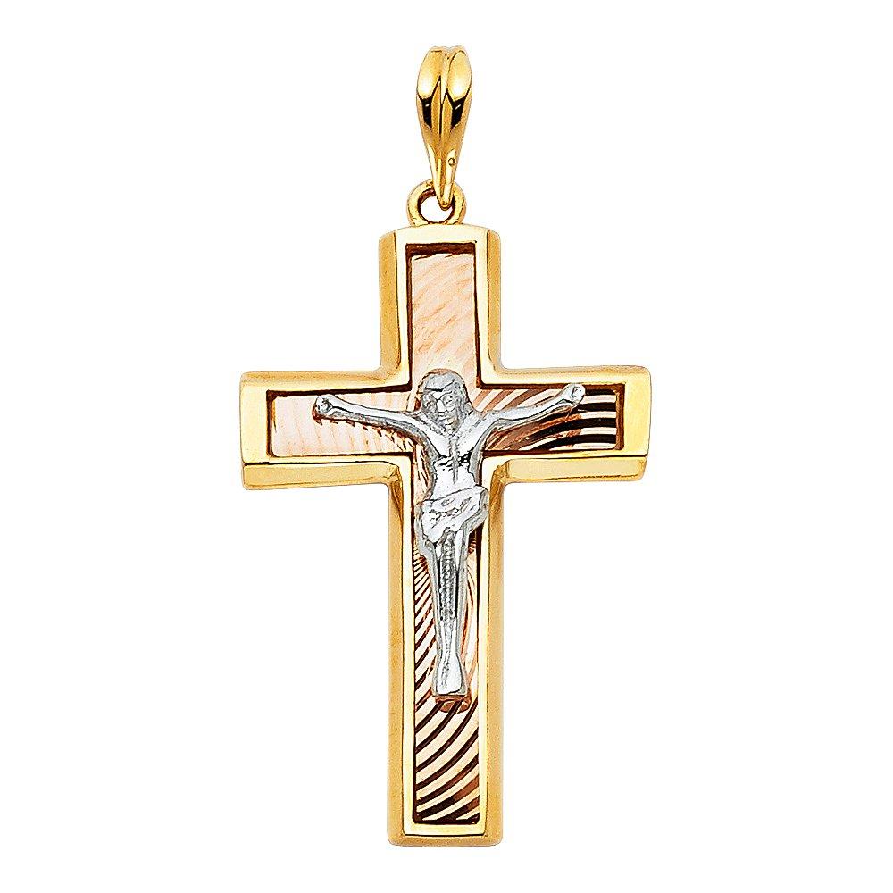 14k Tri Color Gold Religious Crucifix Pendant Charm