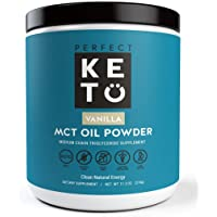 Perfect Keto MCT Oil Powder: Ketosis Supplement (Medium Chain Triglycerides, Coconuts) for Ketone Energy. Paleo Natural Non Dairy Ketogenic Keto Coffee Creamer (Vanilla)