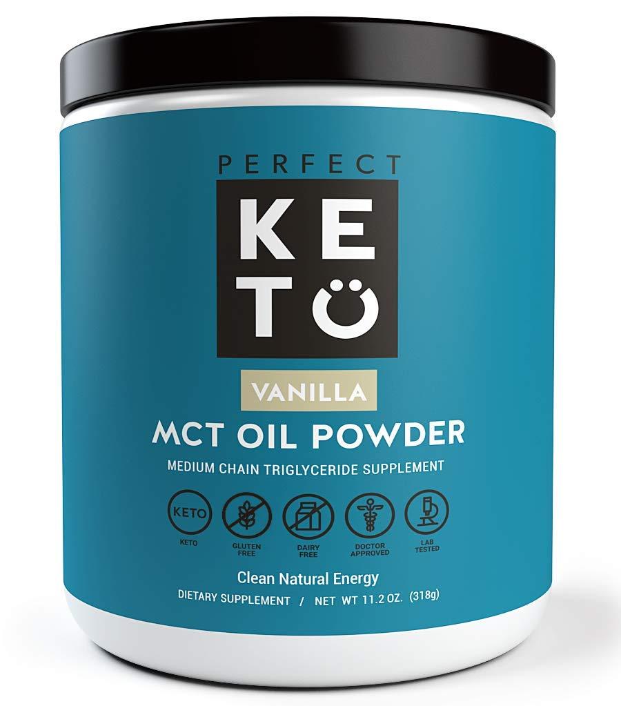 Perfect Keto MCT Oil Powder: Ketosis Supplement (Medium Chain Triglycerides, Coconuts) for Ketone Energy. Paleo Natural Non Dairy Ketogenic Keto Coffee Creamer (Vanilla) by Perfect Keto