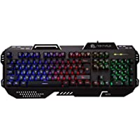 Night Hawk Nk101 FPS Gaming Keyboard with 3 Colour Changeable LED and 19 Anti-Ghosting Keys (Metallic Series), Black