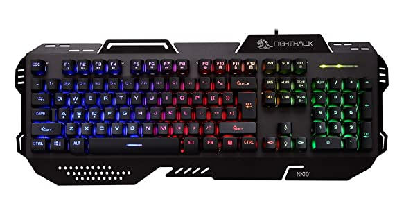 Night Hawk Nk101 FPS Gaming Keyboard With 3 Color Changeable LED & 19 Anti-Ghosting Keys (Metallic Series), Black