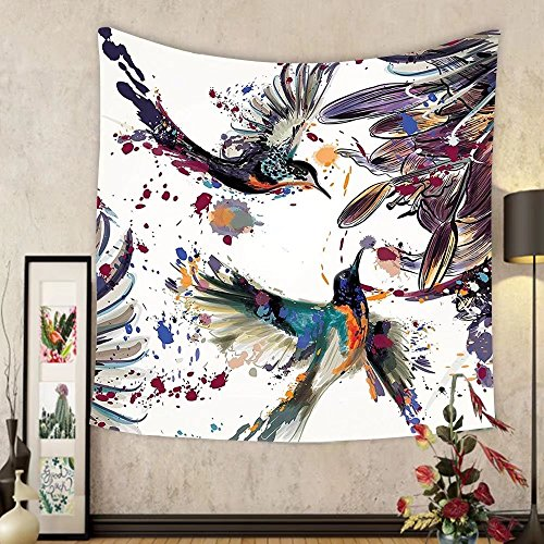 Gzhihine Custom tapestry Hummingbirds Decorations Tapestry Two Hummingbirds Sip Nectar From A Trumpet Vine Blossoms Summertime Bedroom Living Room Dorm - Ohio Nectar Green