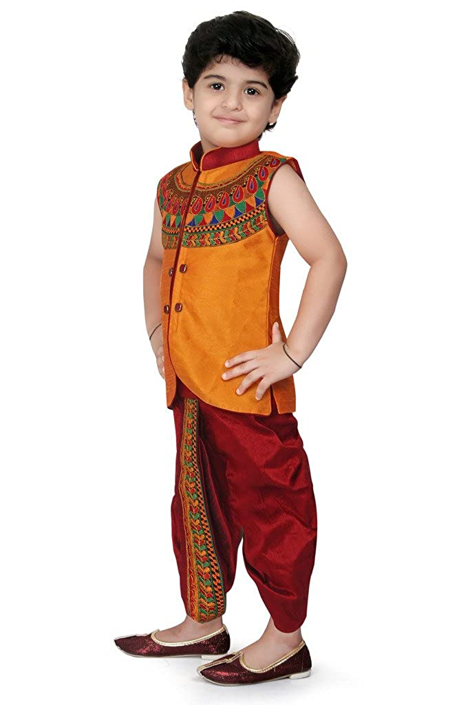 7206a86e4 Kute Kids Boy's Cotton Silk Ethnic Dhoti Kurta Set (Maroon, Size 5- 4-5  Years): Amazon.in: Clothing & Accessories