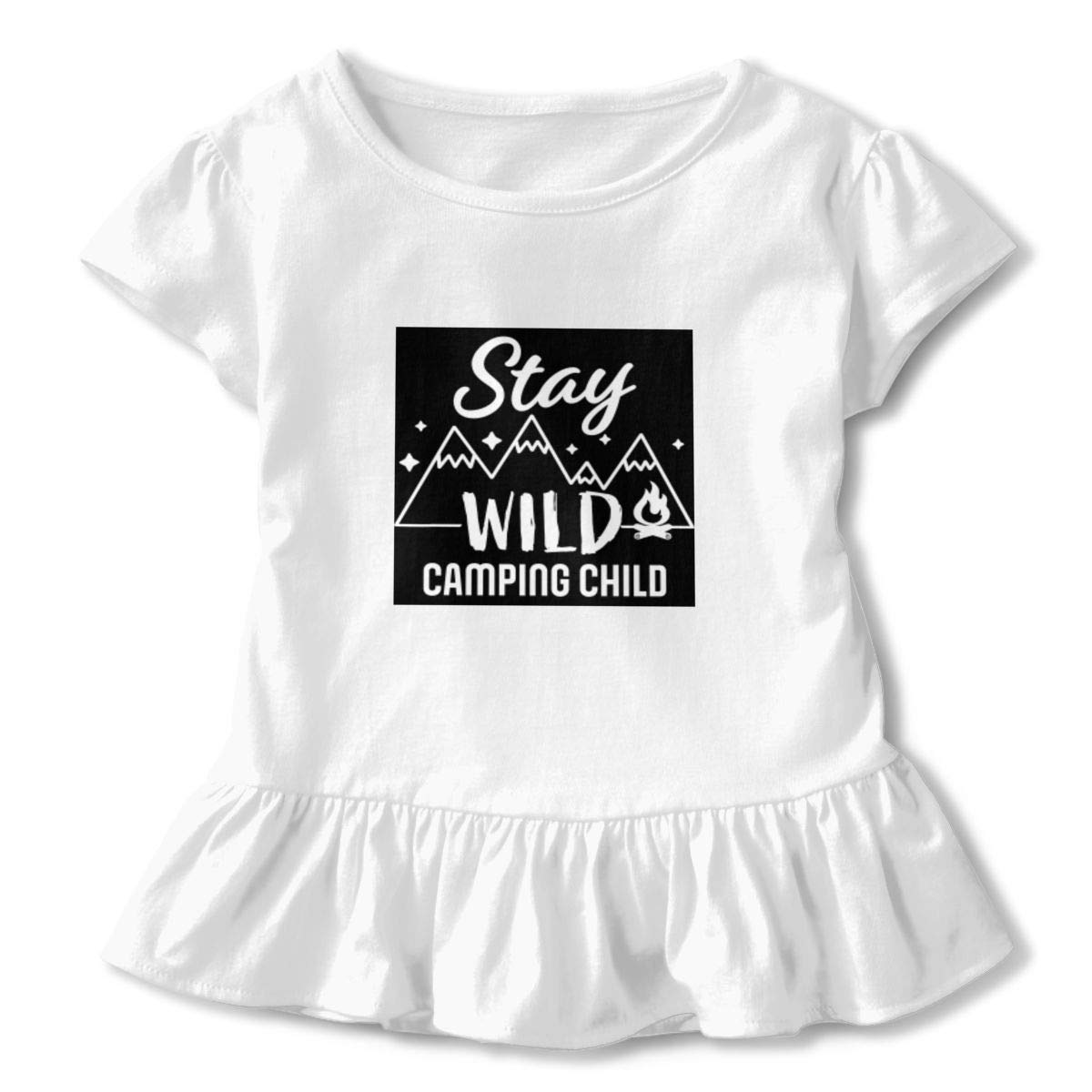 CZnuen Stay Wild Camping Child with Mountains and Fire Baby Girls Round Neck Short Sleeve Ruffle T-Shirt Top