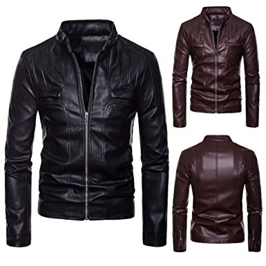 Emubody Mens Casual Leather Motorcycle Jacket, Solid Color Collar Long Sleeve T-Shirt Autumn, Winter at Amazon Mens Clothing store:
