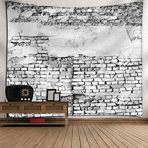 Get Orange Rustic Home Decor Tapestry Ancient Worn Brick Wall with Stucco Vintage Grungy Illustration, Wall Hanging for Bedroom Living Room Dorm 80WX60L Inchesll