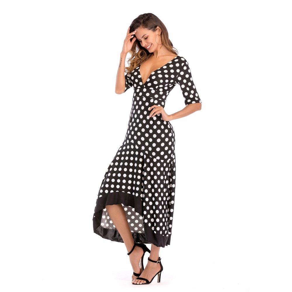 b8e788330 Womens Maxi Vestidos Casuales Irregulares V Cuello Lunares Vestido Largo  Volante Sin Respaldo Vestidos De Fiesta  Amazon.es  Ropa y accesorios
