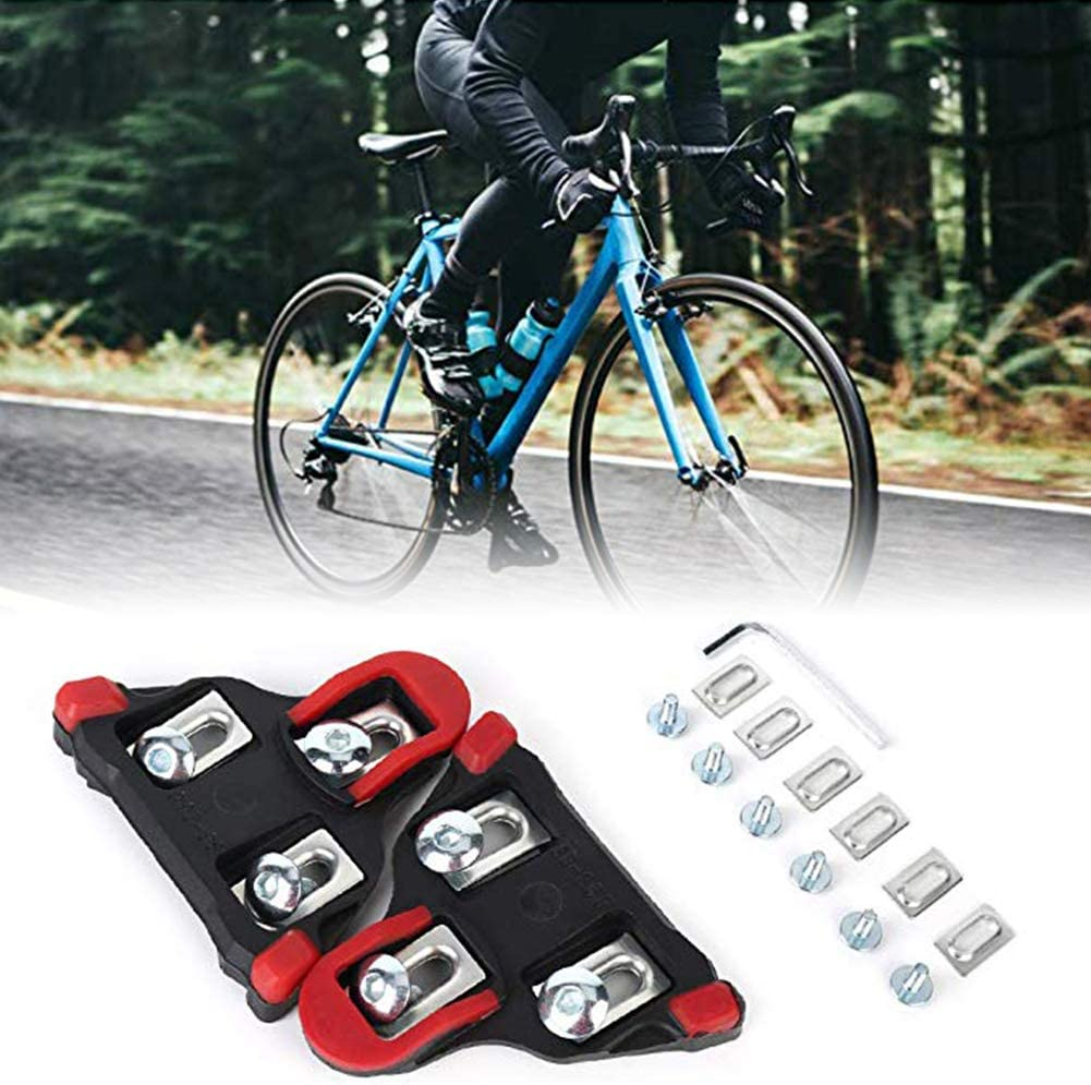 Urisgo Pedales de Bicicleta de Carretera Calas de Bloqueo Negro//Rojo Juego de calas Laterales de Bloqueo de Bicicleta de Carretera Pedales de Bicicleta Calas de Bloqueo Accesorios