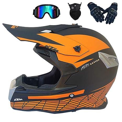 raccogliere noi sporchi amazon MRDEAR Adulto Casco Moto Cross Arancione con Guanti Occhiali ...