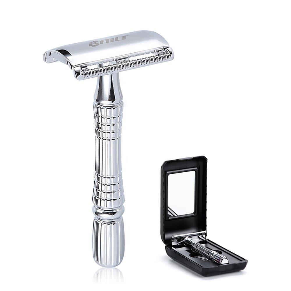 BAILI Classic Barber Double Edge Blade Shaving Safety Razor Shaver Knife Personal Beard Care Silver Color BD176
