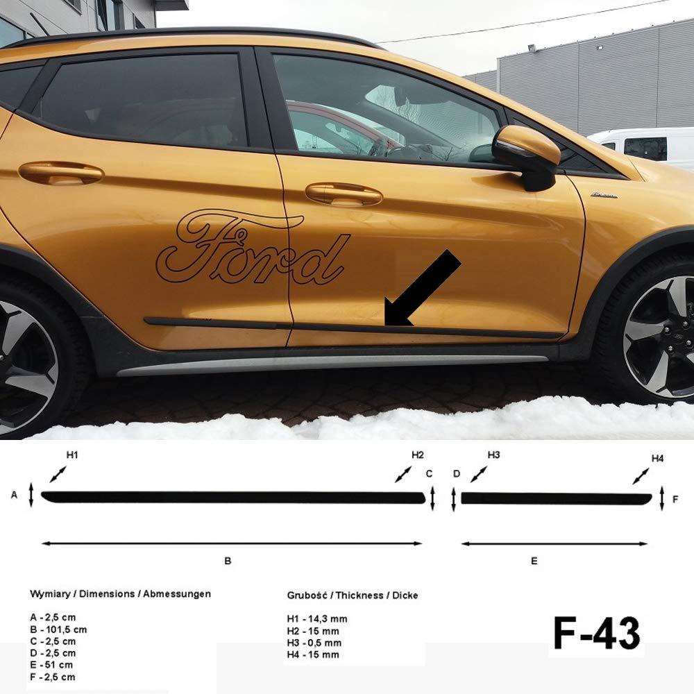 Colore: Nero Spangenberg per Ford Fiesta VII Anno di Costruzione 01.2017- F43 Listelli di Protezione Laterali