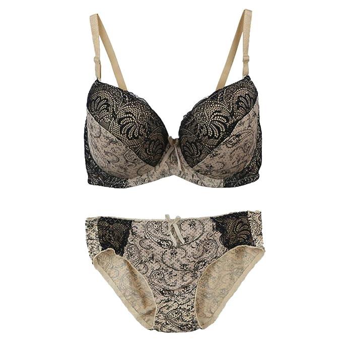 1a143942115 Women s Plus Size Floral Lace Push-Up Bra and Panty Set Underwire Lingerie  Set Beige