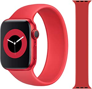 Solo Loop Strap Compatible with Apple Watch Band 38mm 40mm 42mm 44mm, Sport Elastics Silicone Apple Watch Bands Women Men, Replacement Wristband for iWatch Series 6 5 4 3 2 1 SE (Red 38S)