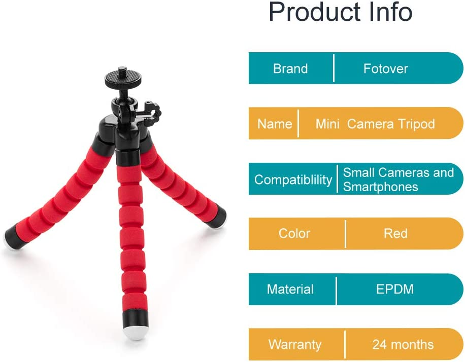 Fotover Universal Durable Mini Lightweight Table Top Camera Tripod Stand and Grip Stabilizer with Phone Bracket Mount for iPhone 8 7 6 6s plus 5 5s Other Smartphones,6.22 inches