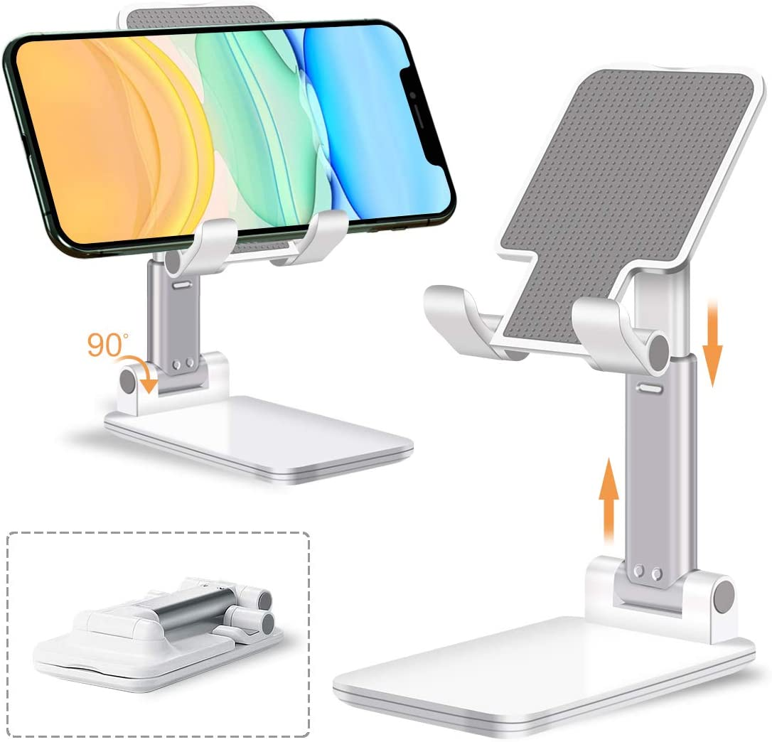 Adjustable Cell Phone Holder Tablet Stand for Desk Fully Foldable Angle Height Portable Stable Desktop Cradle Dock Compatible with iPhone Samsung iPad Up to 10 Inch Screen