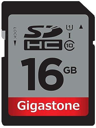 Tarjeta Gigastone SD HC 16GB de Clase 10 (C10 U1) de hasta 48 MB/s - Tarjeta de memoria flash para almacenar y transferir imágenes, vídeos, ...