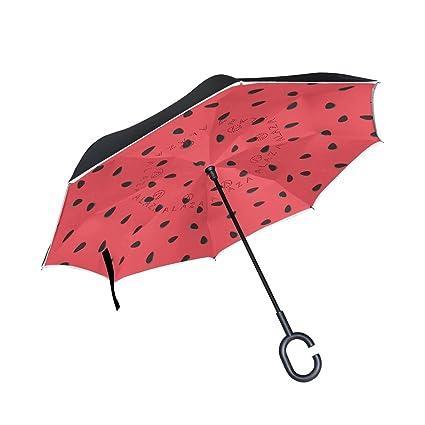 jstel doble capa puede sandía y negro semillas paraguas coches ...