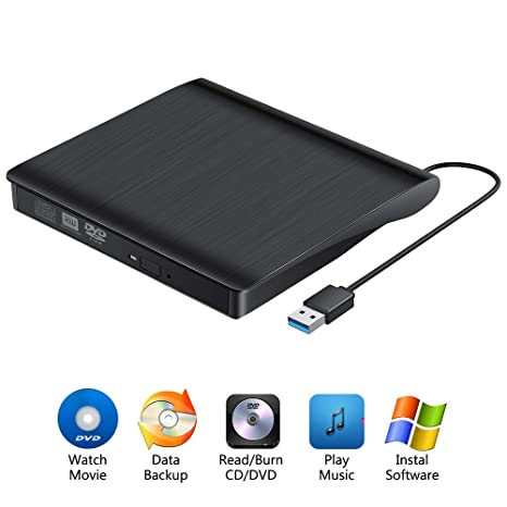 Amazon.com: External CD DVD Drive, RayCue USB3.0 CD/DVD +/- ...