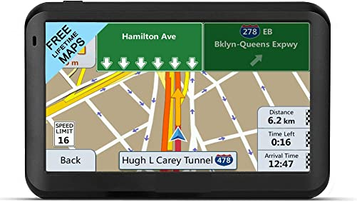 GPS Navigation for car, 7 inch Lifetime Map Update Spoken Turn-to-Turn Navigation System for Cars,Attach Sunshade,Free Lifetime Maps Update,Pre-Install Newest North America map 5inch Blue