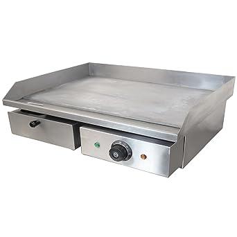 Chef-Hub - Parrilla eléctrica de acero inoxidable para encimera, plana, para barbacoa