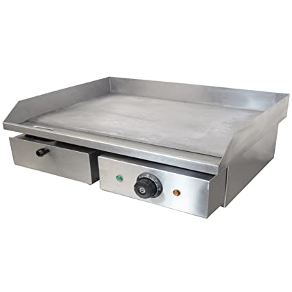 Chef Hub Commercial Counter Top Electric Stainless Steel Griddle Flat Hotplate Barbeque Griddle Kitchen Grill Fried Pans 3kw Ideal For Eggs Bacon