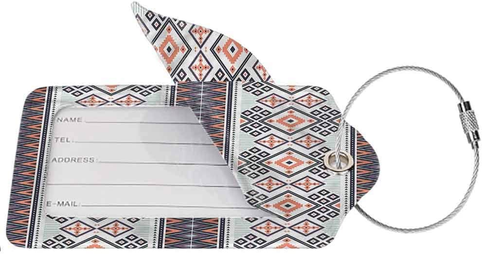 1,2 /& 4 Pack Full Back Privacy Cover Aztec Ancient Artsy Flowers Pattern Luggage ID Tag Luggage Suitcase Tag