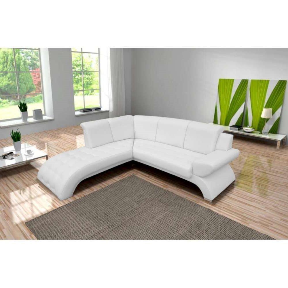 divano ad angolo moderno in ecopelle bianca.