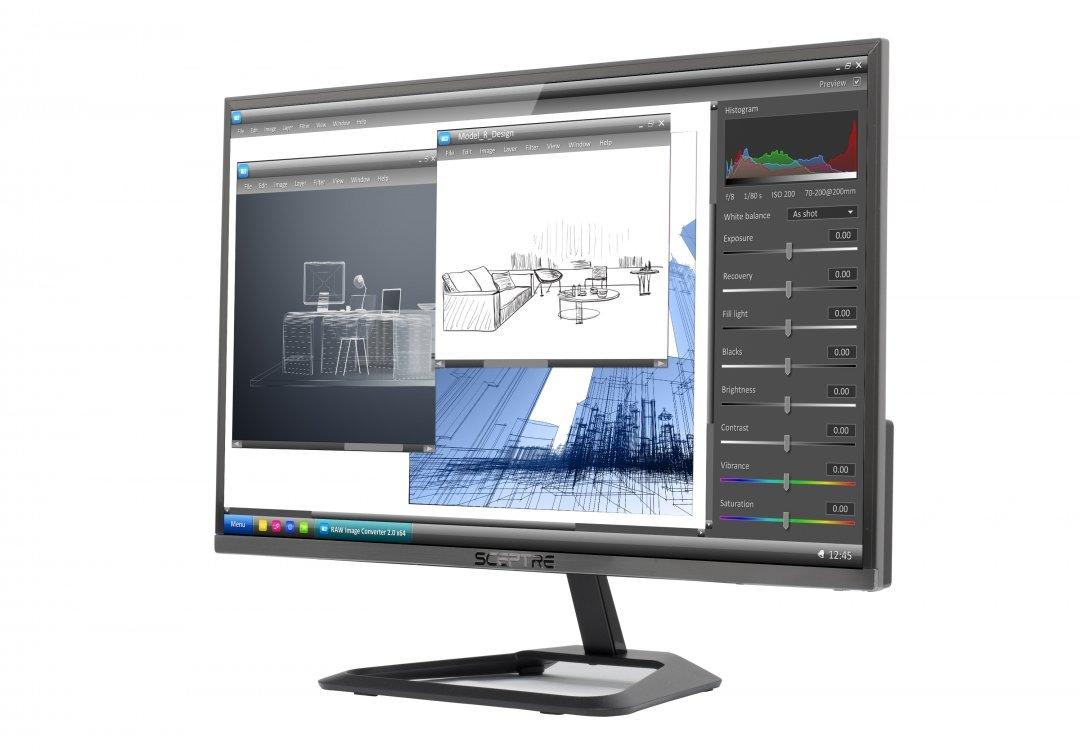 New Sceptre 22-inch 1080p LED Monitor 75Hz Ultra Slim Frame-Less HDMI VGA, Metal Black 2018 (E225W-1920RR) by Sceptre