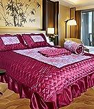 Chelsi Home D©Cor Designer Satin Wedding Bedding Set ( Set Of 4 Pcs) 1 Double Bed Bedsheet:: 2 Pillow Cover:: 1 Ac Comforter