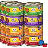 Wellness Natural Premium Canned Cat Wet Food Pate - 12 Pack Cans Variety Bundle Pack 4 Flavor - (Chicken,Beef, Salmon & Turkey) W/ HS Pet Food Bowl - (3 Ounce)