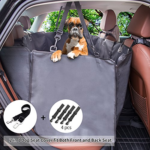 Siivton Dog Seat Covers with Side Flaps, Car Seat Covers for Dogs Pet Seat Cover Hammock Waterproof Nonslip Backing for SUVs, Trucks, Cars Back Or Front Seat by Siivton