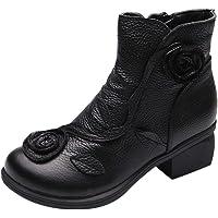 Bottes Fourrures Plates Femme Bottines Talon Carre Femmes Hiver Ankle Chaud Chaussures Vintage Chic Boots CompenséEs en Daim Sexy Boots