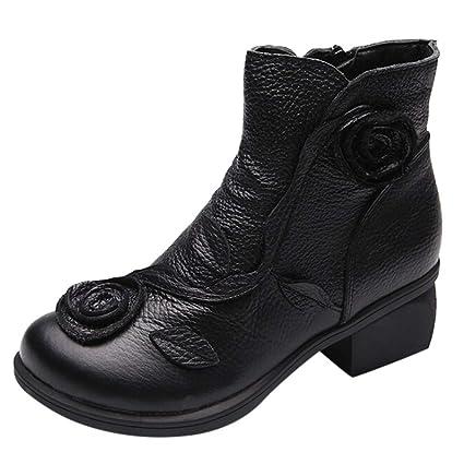Mujer Cuero Bota Botas de Nieve Impermeable ZARLLE Vintage Flores Hechas a Mano Zapatos de Cuero