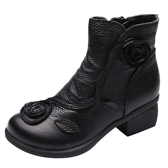 ❤ Botas de Invierno Venta de Mujeres, Mujeres Estilo étnico Botas Flores Cosidas a Mano Zapatos Botas Retro de Cuero Absolute: Amazon.es: Ropa y ...